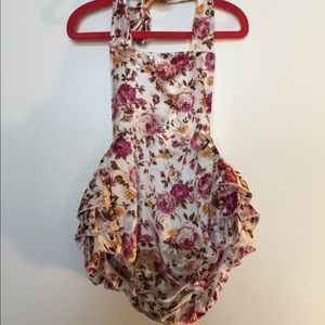 Other - Floral baby romper with ruffle bottom